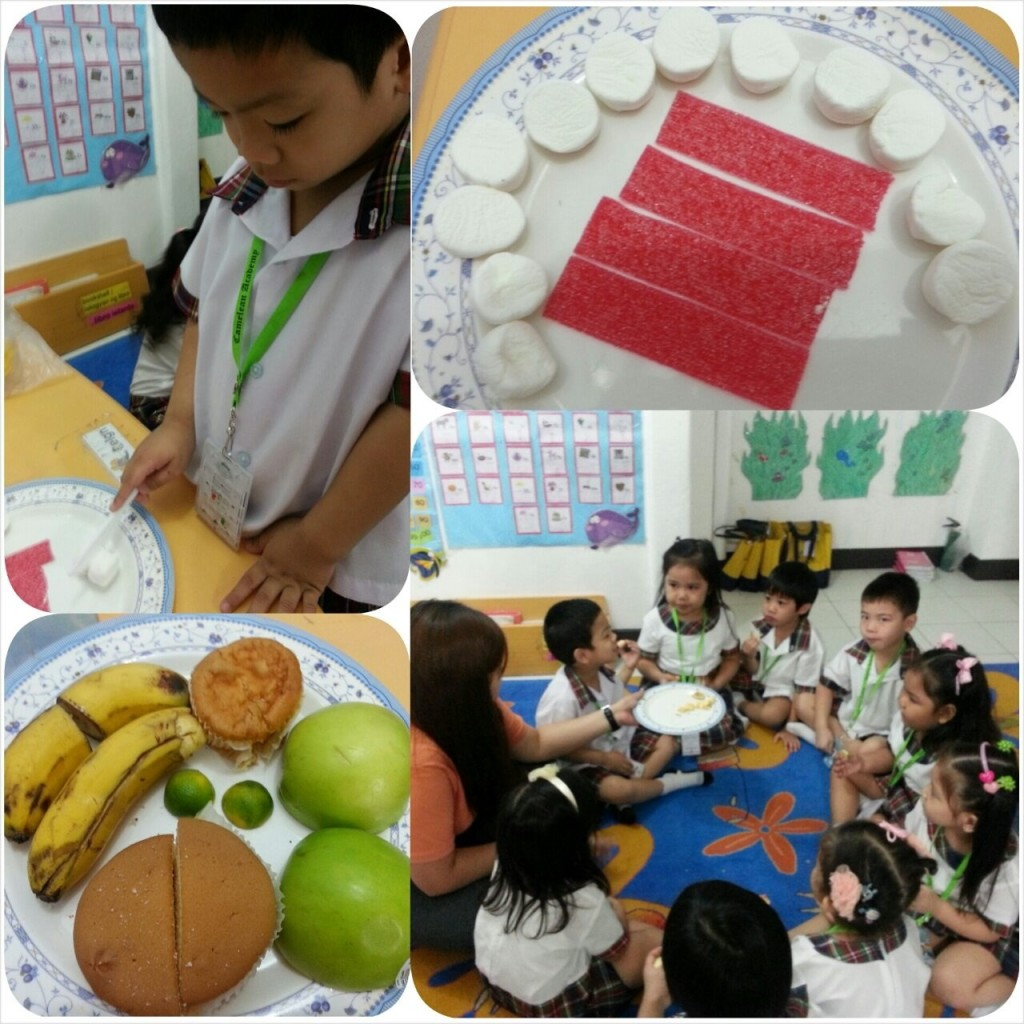 Learning fractions from fruits they ate afterwards and a few Valentine treats