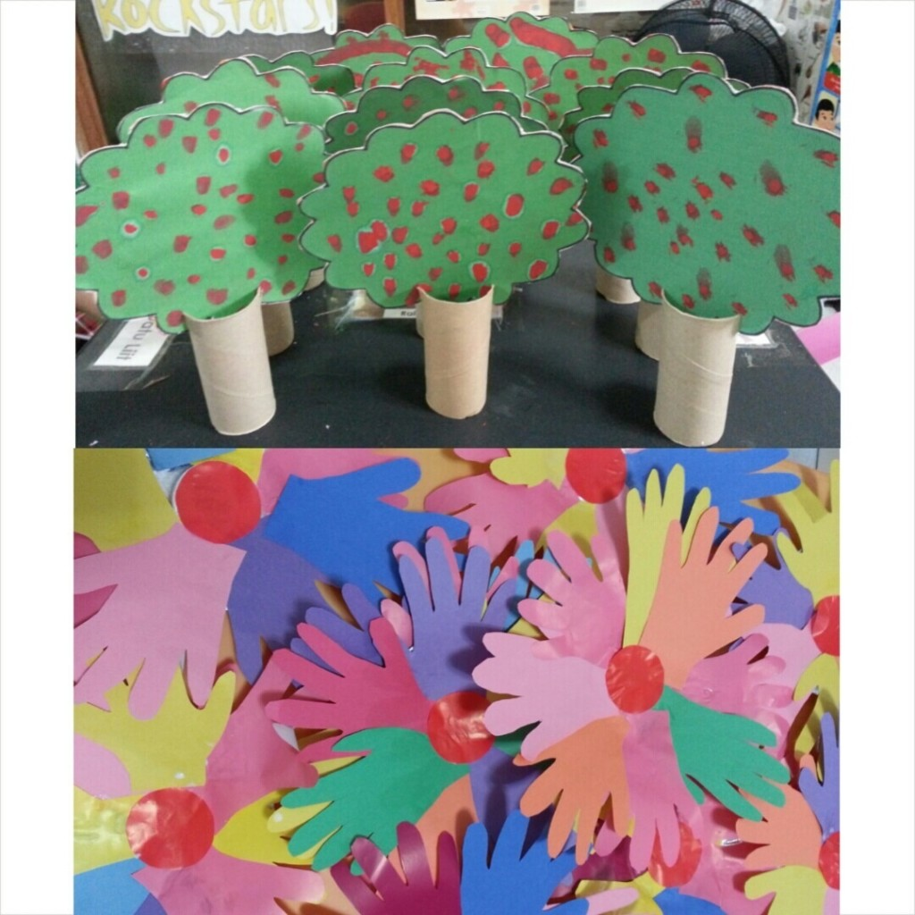 Recycled Tissue Core Tree Art and Promising Hand Wreath
