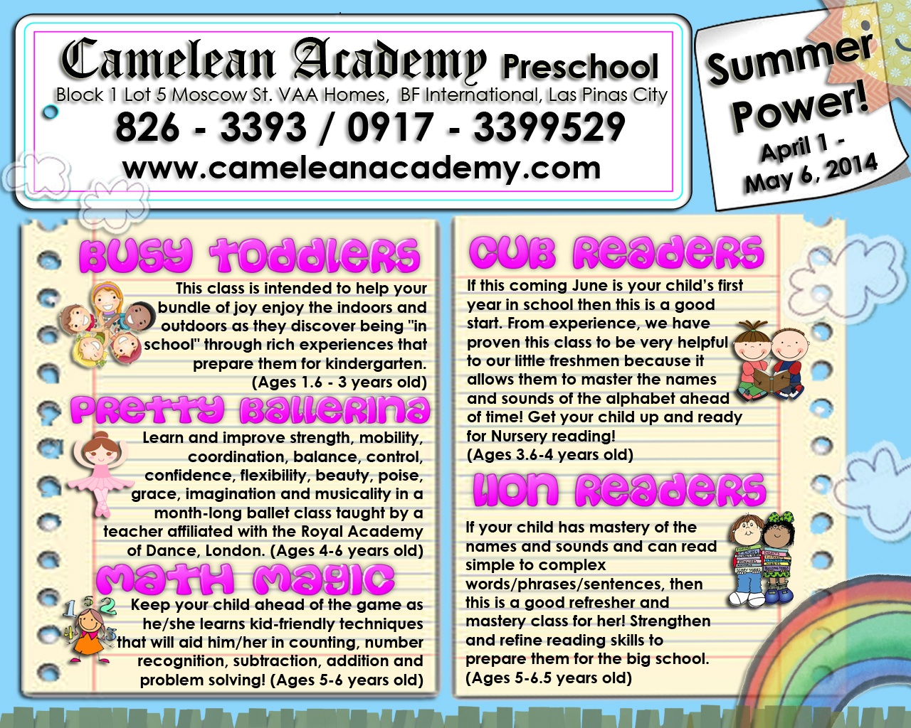 Summer Classes for 2014 | Camelean Academy