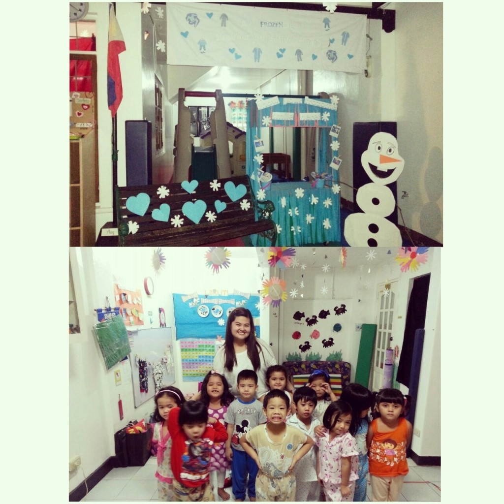 Nursery in their pajamas and with Olaf